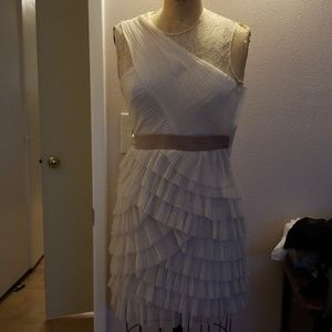 NWT BCBGmaxazria cream chiffon lace ruffle dress